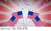 Composition of american flags, over falling confetti, on red and white stripes. Стоковое фото, агентство Wavebreak Media / Фотобанк Лори