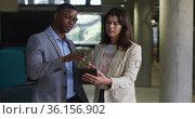 Diverse businessman and businesswoman using tablet in modern office. Стоковое видео, агентство Wavebreak Media / Фотобанк Лори