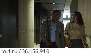Diverse businessman and businesswoman talking in corridor of modern office. Стоковое видео, агентство Wavebreak Media / Фотобанк Лори