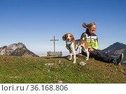 Beagle mit Besitzerin trotzen dem starken Südwind, auch Föhnsturm... Стоковое фото, фотограф Zoonar.com/Eder Christa / easy Fotostock / Фотобанк Лори