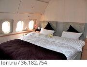 Im 7. Himmel oder auf Wolke 7: Das Schlafgemach des Airbus Business... (2009 год). Редакционное фото, фотограф Gerd Michael Müller / age Fotostock / Фотобанк Лори