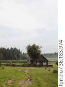 Summer picturesque rural landscape with a wooden country farmhouse. Стоковое фото, фотограф Galina kondratenko / Фотобанк Лори