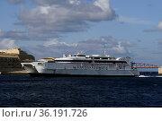 Katamaran-Fähre Jean de la Valette der Reederei Virtu Ferries, die... Стоковое фото, фотограф Zoonar.com/Erich Teister / age Fotostock / Фотобанк Лори