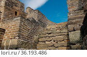 Steile Treppe mit hohen Stufen auf der Chinesischen Mauer in Mutianyu... Стоковое фото, фотограф Zoonar.com/Christian Länger / easy Fotostock / Фотобанк Лори