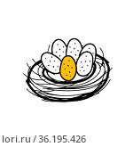 Hand drawing black vector Illustration of a bird nest with a group of one yellow and five white eggs isolated on a white background. Стоковая иллюстрация, иллюстратор Татьяна Куклина / Фотобанк Лори