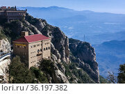 Landscape view from Montserrat with cable car station in the foreground... Стоковое фото, фотограф Mehul Patel / age Fotostock / Фотобанк Лори