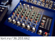 Mixing console closeup, recording studio equipment. Стоковое фото, фотограф Tryapitsyn Sergiy / Фотобанк Лори
