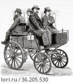 "19th century automobile. Magnus Volk FII (1851â. ""1937) British inventor... Редакционное фото, фотограф Jerónimo Alba / age Fotostock / Фотобанк Лори"