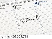 Notiz auf einem Kalender: Steuerberater. Стоковое фото, фотограф Zoonar.com/Birgit Reitz-Hofmann / age Fotostock / Фотобанк Лори