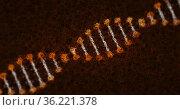 Image of distorted digital 3d orange and white double helix DNA. Стоковое фото, агентство Wavebreak Media / Фотобанк Лори