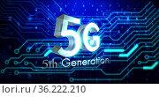 Image of 5g 5th generation text over glowing computer circuit board elements. Стоковое фото, агентство Wavebreak Media / Фотобанк Лори
