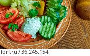 Bulgarian Chevermeto salad - Vegetable salad, Balkan cuisine. Стоковое фото, фотограф Zoonar.com/MYCHKO / easy Fotostock / Фотобанк Лори