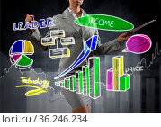 Close view of businesswoman drawing colorful diagrams and graphs on... Стоковое фото, фотограф Zoonar.com/Aleksandr Khakimullin / easy Fotostock / Фотобанк Лори