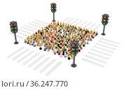 Large crowd of small symbolic 3d figures, with traffic light, over... Стоковое фото, фотограф Zoonar.com/Viktors Ignatenko / easy Fotostock / Фотобанк Лори