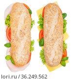 Brötchen Sandwich Vollkorn Baguette belegt mit Käse und Schinken von... Стоковое фото, фотограф Zoonar.com/Markus Mainka / easy Fotostock / Фотобанк Лори