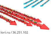 Crowd of small symbolic figures, movement arrows, 3d illustration... Стоковое фото, фотограф Zoonar.com/Viktors Ignatenko / easy Fotostock / Фотобанк Лори