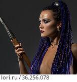Horsewoman with dreadlocks topless profile view. Стоковое фото, фотограф Гурьянов Андрей / Фотобанк Лори