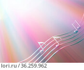 Colorful music abstract note symbols 3d illustration, horizontal background... Стоковое фото, фотограф Zoonar.com/Viktors Ignatenko / easy Fotostock / Фотобанк Лори