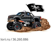 Cartoon Monster Truck. Стоковая иллюстрация, иллюстратор Александр Володин / Фотобанк Лори
