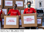 ActionAid, flash mob 'Dititti in giacenza' (Rights in Stock), launch... Редакционное фото, фотограф Cristiano Minichiello / AGF/Cristiano Minichiello / age Fotostock / Фотобанк Лори