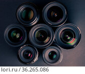 Set of various DSLR lenses with colorful reflections - shot from above. Стоковое фото, фотограф Zoonar.com/Petr Svoboda / easy Fotostock / Фотобанк Лори