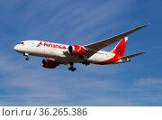 Avianca Boeing 787 approaching to El Prat Airport (2020 год). Редакционное фото, фотограф Яков Филимонов / Фотобанк Лори