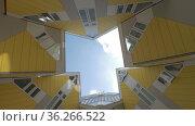 Cube Houses in Rotterdam, view from beneath (2016 год). Редакционное фото, фотограф Данил Руденко / Фотобанк Лори