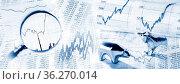 Börsenkurse als Tabelle und Grafik mit Lupe und Bulle und Bär. Стоковое фото, фотограф Zoonar.com/ironjohn / easy Fotostock / Фотобанк Лори