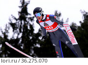 Tim Fuchs (SC Degenfeld) beim FIS Continental Cup Skispringen Titisee... Стоковое фото, фотограф Zoonar.com/Joachim Hahne / age Fotostock / Фотобанк Лори