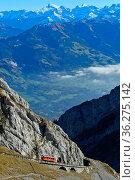 Roter Wagen der Pilatusbahn auf der steilen Bahnstrecke am Pilatus... Стоковое фото, фотограф Zoonar.com/Pant / age Fotostock / Фотобанк Лори