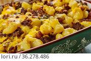 Taco Macaroni Casserole,macaroni and cheese , Tex-Mex cuisine, Traditional... Стоковое фото, фотограф Zoonar.com/MYCHKO / easy Fotostock / Фотобанк Лори