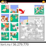 Cartoon Illustration of Educational Jigsaw Puzzle Game for Kids with... Стоковое фото, фотограф Zoonar.com/Igor Zakowski / easy Fotostock / Фотобанк Лори