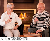 Happy senior couple having wine in front of cosy fireplace at home... Стоковое фото, фотограф Zoonar.com/StockLite / easy Fotostock / Фотобанк Лори