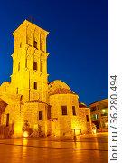 The Church of Saint Lazarus (Agios Lazaros) in Larnaca at night, Cyprus... Стоковое фото, фотограф Zoonar.com/Roman Sigaev / easy Fotostock / Фотобанк Лори