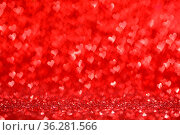 Shiny red hearts bokeh light Valentine's day background. Стоковое фото, фотограф Zoonar.com/Ivan Mikhaylov / easy Fotostock / Фотобанк Лори