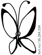 Butterfly cartoon character line drawing, vector, vertical, over white. Стоковое фото, фотограф Zoonar.com/Viktors Ignatenko / easy Fotostock / Фотобанк Лори