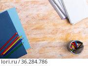 School stationery on wooden table. Стоковое фото, фотограф Яков Филимонов / Фотобанк Лори