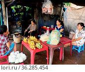 BINH DINH, VIET NAM- NOV 5, 2017: Asian senior woman work for live... Стоковое фото, фотограф Zoonar.com/Hong Hanh Mac Thi / age Fotostock / Фотобанк Лори