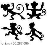 Monkey moves cartoon character black silhouette, vector illustration... Стоковое фото, фотограф Zoonar.com/Viktors Ignatenko / easy Fotostock / Фотобанк Лори
