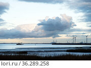 Severn Estuary at dusk with tidal mudflats and the industrial complex of Avonmouth beyond, England, UK. November 2020. Стоковое фото, фотограф John Waters / Nature Picture Library / Фотобанк Лори