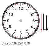 A clock illustration face with numbers hour minute and second hands... Стоковое фото, фотограф Zoonar.com/Nigel Stripe / easy Fotostock / Фотобанк Лори