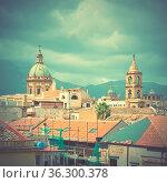 Cityscape of Palermo in Sicily, Italy. Retro-vintage social media... Стоковое фото, фотограф Zoonar.com/Roman Sigaev / easy Fotostock / Фотобанк Лори