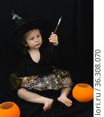 Маленькая двухлетняя девочка в костюме ведьмы с волшебной палочкой в руках и оранжевыми тыквами сидит на черном фоне. Стоковое фото, фотограф Наталья Гармашева / Фотобанк Лори