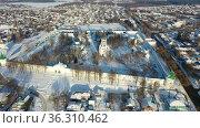 Top view of the Trinity Cathedral in Holy Assumption Monastery. Aleksandrov. Russia. Стоковое видео, видеограф Яков Филимонов / Фотобанк Лори