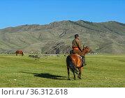 Mongolischer Reiter im Orchon-Tal, Khangai Nuruu Nationalpark, Oevoerkhangai... Стоковое фото, фотограф Zoonar.com/Pant / age Fotostock / Фотобанк Лори