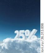 Die zahl fünfundzwanzig und prozentzeichen auf wolken - 3d rendering. Стоковое фото, фотограф Zoonar.com/jörg röse-oberreich / easy Fotostock / Фотобанк Лори
