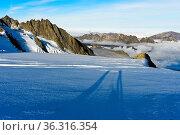 Lange Schatten von zwei Personen auf dem Gletscher Glacier du Tour... Стоковое фото, фотограф Zoonar.com/Mike / easy Fotostock / Фотобанк Лори