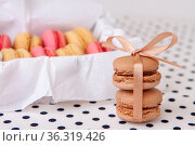 Macaroni cakes with vanilla and chocolate filling close-up tied with a ribbon. Стоковое фото, фотограф Анна Гучек / Фотобанк Лори
