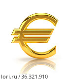 Euro sign, made of gold, stands upright on a white background. Стоковое фото, фотограф Zoonar.com/Anton Balazh / easy Fotostock / Фотобанк Лори