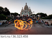 PARIS - JULY 1: Fire Show in front of Sacre Coeur Cathedral in Paris... Стоковое фото, фотограф Zoonar.com/Andrey Omelyanchuk / age Fotostock / Фотобанк Лори